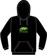 Black hoodie with light green openSUSE logo