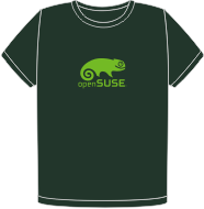 Dark green t-shirt with light green openSUSE logo