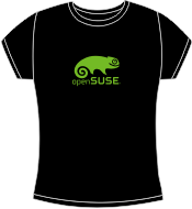 Black fitted t-shirt with light green openSUSE logo
