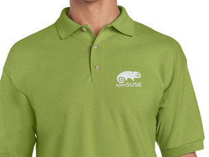 Light green polo shirt with white openSUSE logo